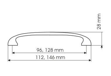 Uchwyt meblowy  UN1306, satyna, 128mm, gamet