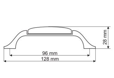 Uchwyt meblowy porcelanowy UP19-GA0003-MLK-1 porcelana + złoto, rozstaw 96mm, Gamet