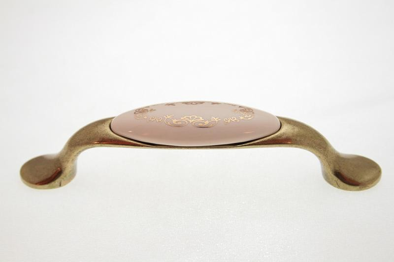 Uchwyt meblowy porcelanowy UP19-AB-MLK-3 porcelana + stare złoto, rozstaw 96mm, Gamet