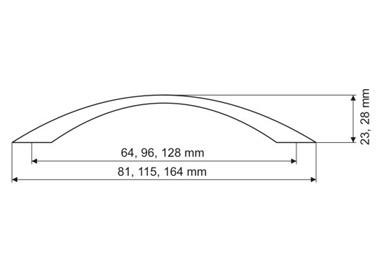 Uchwyt meblowy  UP8306, satyna, 64mm, gamet