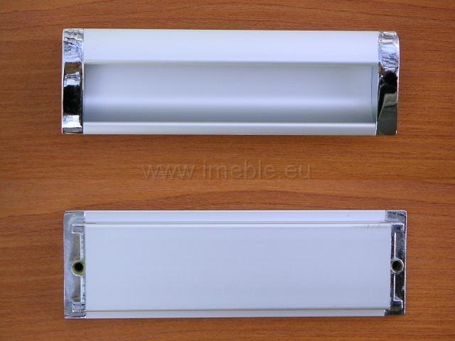 Uchwyt wpuszczany 128 aluminium/chrom